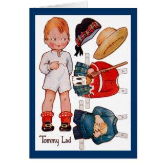 Tarjeta de Paperdoll Little Boy Tommy del vintage