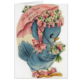 Tarjeta de pascua azul del pájaro del vintage