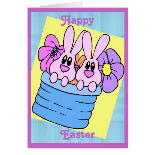 Tarjeta de pascua blanda de los conejitos