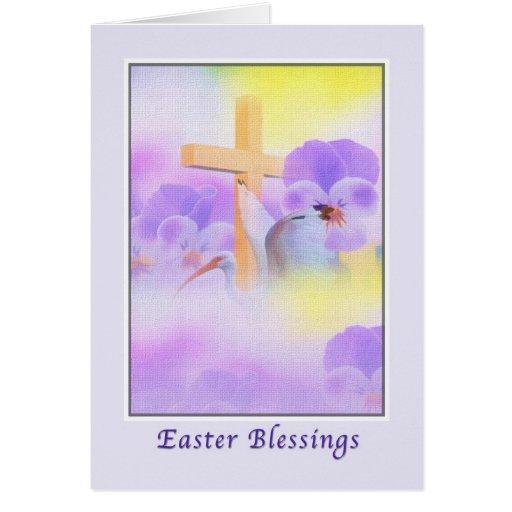 Tarjeta de pascua con las flores y la cruz