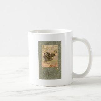 Tarjeta de pascua corriente del vintage del pollue tazas