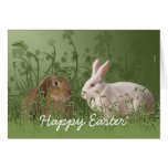 Tarjeta de pascua de dos conejos