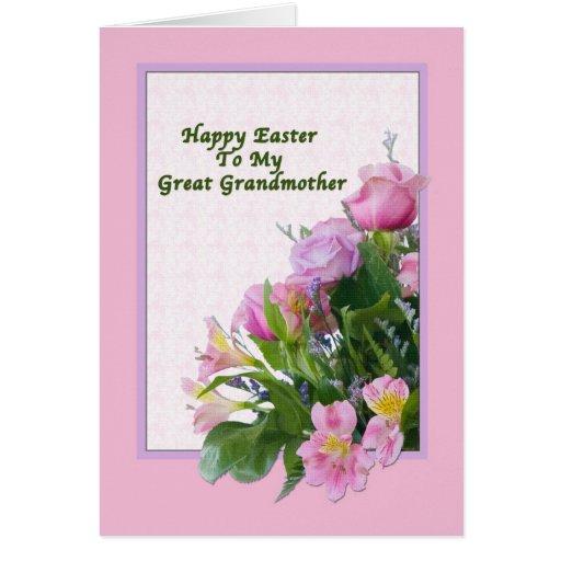 Tarjeta de pascua de la bisabuela con la flor de l