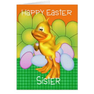 Tarjeta de pascua de la hermana con los huevos del