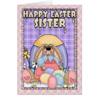 Tarjeta de pascua de la hermana - conejito de pasc