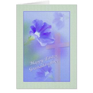 Tarjeta de pascua de la nieta con las flores y la