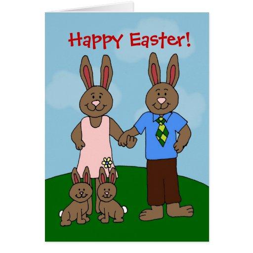 tarjeta de pascua de los conejitos de la familia