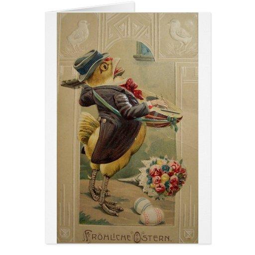 Tarjeta de pascua del alemán del Victorian - Frohl