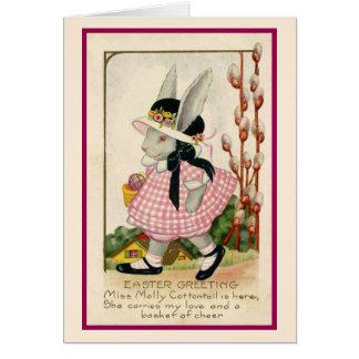 Tarjeta de pascua del chica de conejito