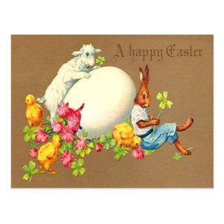 Tarjeta de pascua del cordero del huevo del postal