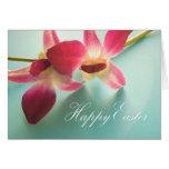 Tarjeta de pascua feliz (orquídeas magentas)
