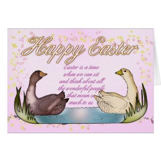 Tarjeta de pascua - gansos en una charca