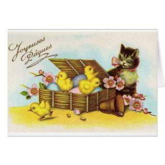 Tarjeta de Pascua Joyeuses Pâques del francés del