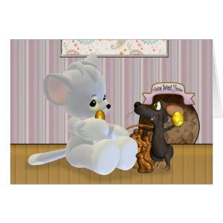 Tarjeta de pascua linda, con el gato y el ratón