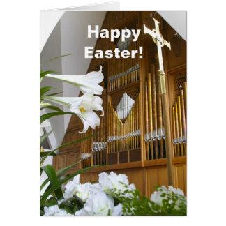 Tarjeta de pascua - lirios y órgano
