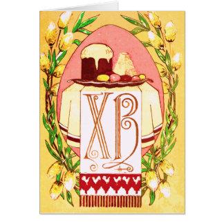 Tarjeta de pascua ortodoxa (eslava) rusa del