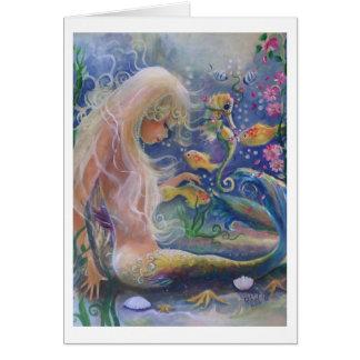 Tarjeta de pelo rubio de la sirena