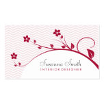 Tarjeta de plantilla con flores rojas y chevrón plantillas de tarjetas de visita