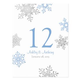 Tarjeta de plata azul de la tabla del boda del inv tarjetas postales