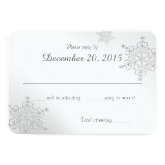 Tarjeta de plata de la respuesta de los copos de invitación 8,9 x 12,7 cm