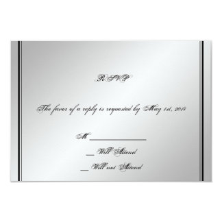 Tarjeta de plata de la respuesta del boda de la invitación 8,9 x 12,7 cm