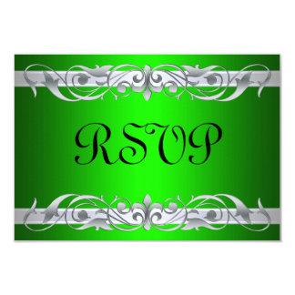 """Tarjeta de plata de RSVP del verde de la grande Invitación 3.5"""" X 5"""""""