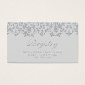 Tarjeta de plata del registro del boda del damasco tarjetas de visita