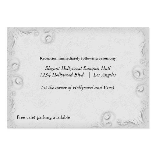 Tarjeta de plata elegante de la recepción nupcial tarjetas de visita grandes