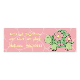 Tarjeta de Playdate de la tortuga de la margarita Tarjetas De Visita Mini