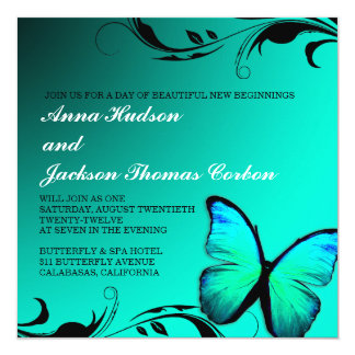 Tarjeta de presentación brillante de 311 azules invitación 13,3 cm x 13,3cm