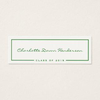 Tarjeta de presentación verde de la invitación de tarjetas de visita mini