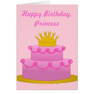 Tarjeta de princesa Pink Cake With Crown del feliz