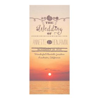 Tarjeta de programa del boda de la playa de la plantillas de lonas