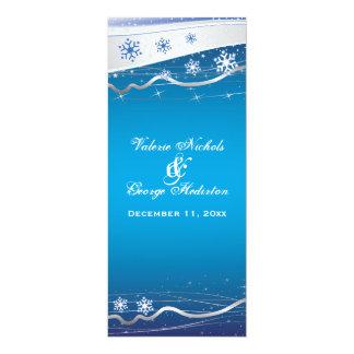 """Tarjeta de programa del boda del copo de nieve del invitación 4"""" x 9.25"""""""