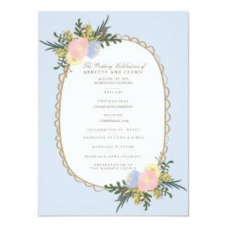 """Tarjeta de programa floral del boda de la silueta invitación 5.5"""" x 7.5"""""""