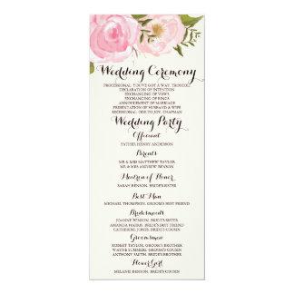 Tarjeta de programa floral del boda del rosa invitación 10,1 x 23,5 cm