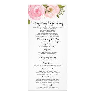 Tarjeta de programa floral del boda del rosa lona