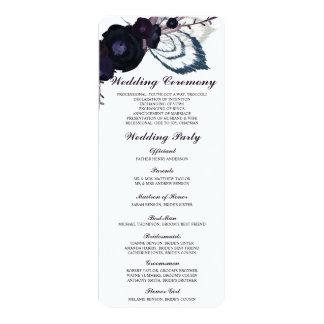 """Tarjeta de programa floral púrpura elegante del invitación 4"""" x 9.25"""""""