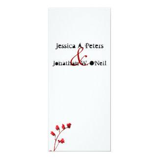 Tarjeta de programa roja del boda de la flor invitación 10,1 x 23,5 cm