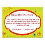 Tarjeta de publicidad del cuidado de niños de la s tarjetas postales