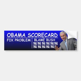 Tarjeta de puntuación de Obama: Culpa Bush Etiqueta De Parachoque