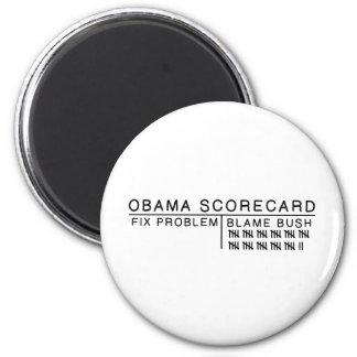 Tarjeta de puntuación de Obama Imán Redondo 5 Cm