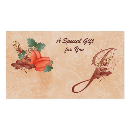 Tarjeta de regalo de la letra J del monograma de l Tarjeta De Visita