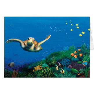 Tarjeta de regalo de la tortuga de mar verde
