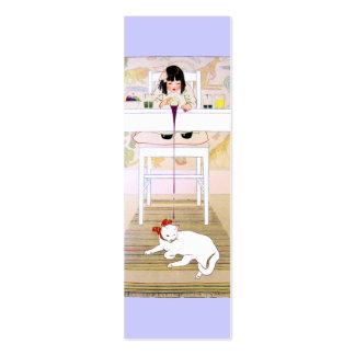 Tarjeta de regalo del gato/señal púrpuras plantilla de tarjeta de negocio