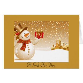 Tarjeta de regalo del muñeco de nieve