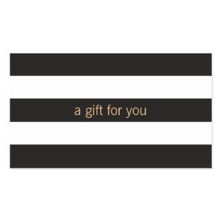 Tarjeta de regalo rayada blanco y negro tarjetas de visita