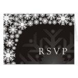 Tarjeta de RSVP - boda del invierno del copo de