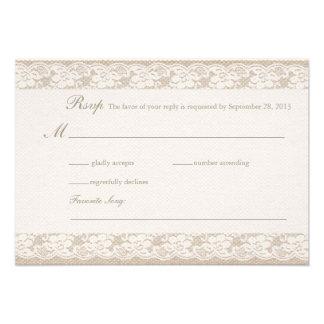 Tarjeta de RSVP de la arpillera y del cordón Invitaciones Personalizada
