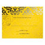 tarjeta de RSVP de la chaqueta amarilla del damasc Comunicados Personales